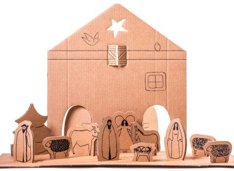 Kerststal kind karton inkleuren - Van Dutch Design